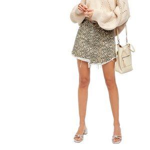 NEW Free People Cheetah Bailey Mini Denim Skirt